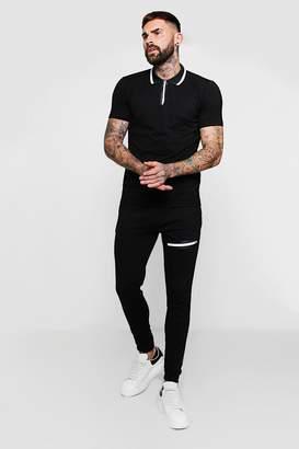 boohoo Zip Through Short Sleeve Polo + Jogger Set