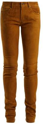 Saint Laurent Mid Rise Skinny Suede Trousers - Womens - Light Brown