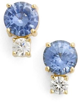 Women's Jemma Wynne Sapphire & Diamond Stud Earrings $1,365 thestylecure.com