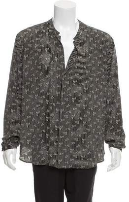 Saint Laurent Silk Printed Long Sleeve Shirt w/ Tags