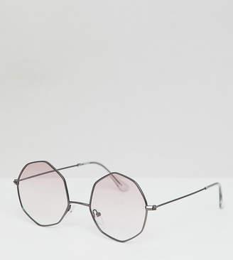 Asos Design DESIGN metal oxtagon round sunglass in gunmetal with pink grad lens