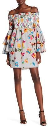 Nicole Miller Layered Cold Shoulder Long Sleeve Dress