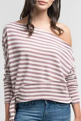 Love Stitch Striped Off-Shoulder Top