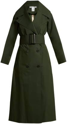 Oscar de la Renta Over-sized notch lapel cotton-blend trench coat