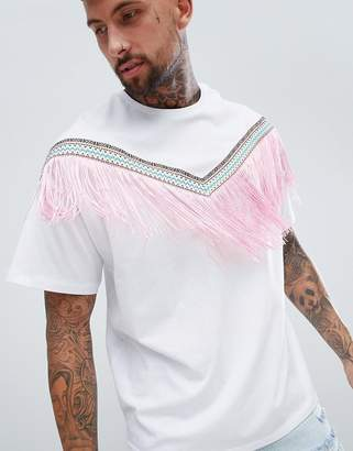 Asos DESIGN festival oversized longline t-shirt with chevron geo-tribal taping and fringing in white