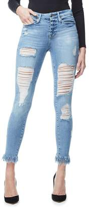 Good American Good Legs Fray Ripped Jeans - Blue018