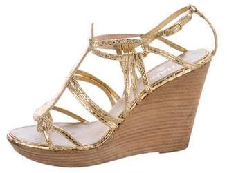 Chanel Metallic Wedge Sandals