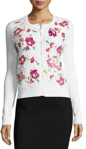 Oscar de la Renta Pixel-Embroidered Lace Cardigan, White/Multi