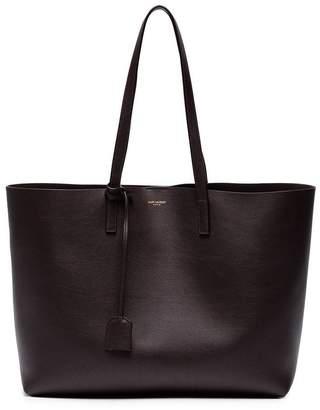 Saint Laurent Burgundy Shopper Leather Tote Bag