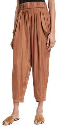 Halston Flowy Ruched Cropped Satin Pants