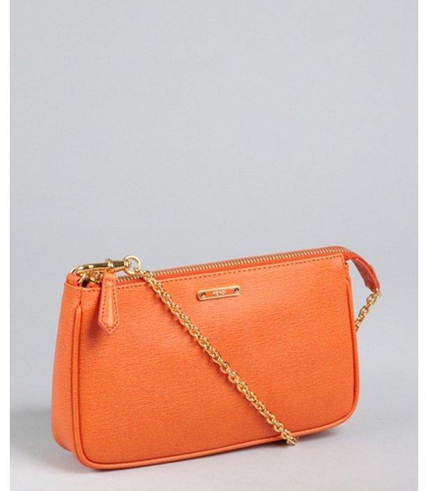 Fendi orange elite leather mini chain bagette