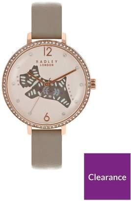 Radley London Brown Folk Dog Watch With Rose Gold Casing Ladies Watch