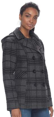 Details Women's Hooded Double Breasted Wool Blend Peacoat