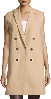 Brunello Cucinelli Sleeveless Trenchcoat Jacket, Biscuit $1,735 thestylecure.com