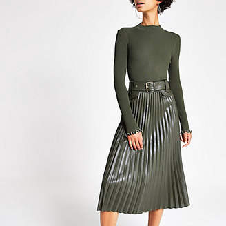River Island Khaki pleated faux leather midi skirt