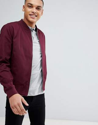 New Look Cotton Bomber Jacket In Burgundy