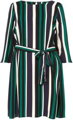 Dorothy Perkins Womens **Dp Curve Multi Colour Striped Tie Waist Skater Dress