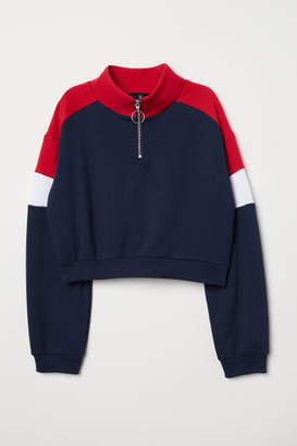H&M Stand-up Collar Sweatshirt - Blue