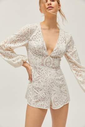 Finders Keepers Sofia Lace Plunging Long Sleeve Romper
