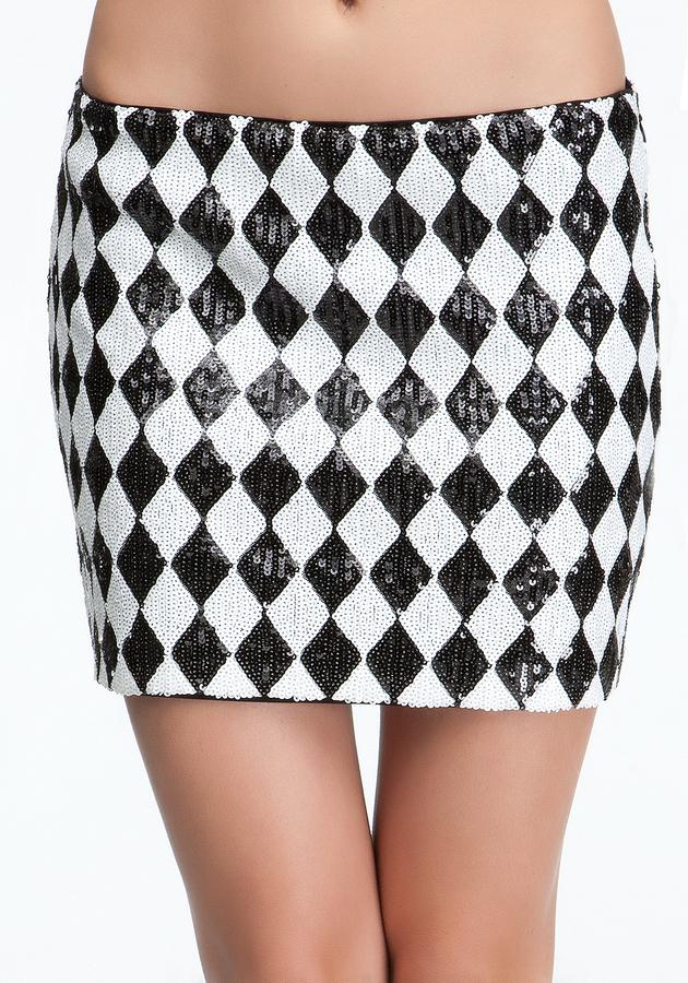 Bebe Harlequin Sequin Mini Skirt