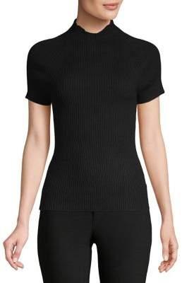 Isaac Mizrahi IMNYC Mockneck Ribbed Short Sleeve Sweater