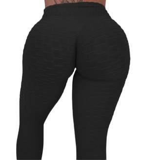 CROSS1946 Women's High Waist Booty Ruched Textured Legging Butt Lift Yoga Pants M