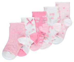 George 5 Pack Assorted Print Socks