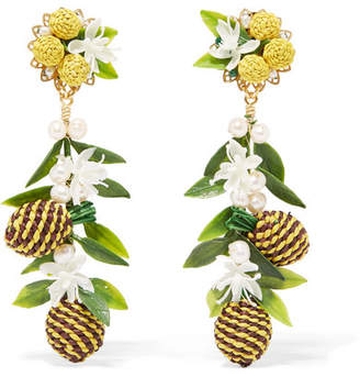 Mercedes Salazar Tropic Pineapple Gold-plated, Resin And Faux Pearl Clip Earrings - Yellow