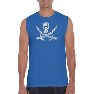 LOS ANGELES POP ART Los Angeles Pop Art Pirate Captains Sleeveless Word Art T-Shirt- Men's Big and Tall
