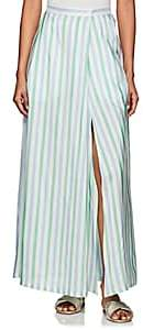 Thierry Colson Women's Silvana Striped Silk Maxi Skirt - Mint, heaven blue