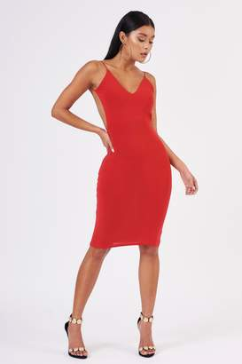 Club L Womens **Red Ruched Midi Cami Dress By Red
