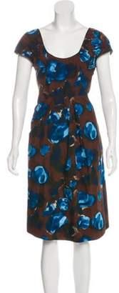 Marni Abstract Print Knee-Length Dress Brown Abstract Print Knee-Length Dress