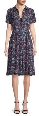 Floral Belted Knee-Length Shirtdress