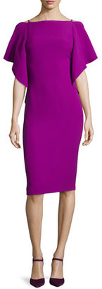 Ralph Lauren Collection Flutter-Sleeve Scoop-Back Dress, Berry $2,190 thestylecure.com