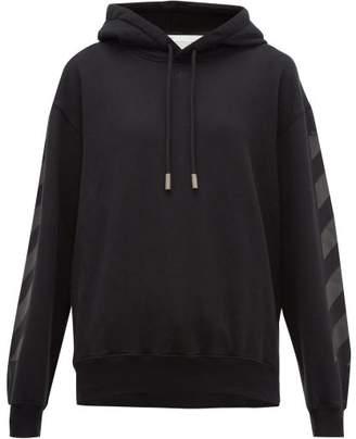 Off-White Off White Logo Print Cotton Hooded Sweatshirt - Womens - Black