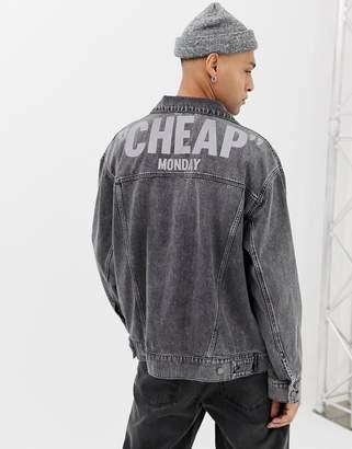 Cheap Monday oversized denim jacket in washed black with reflective logo
