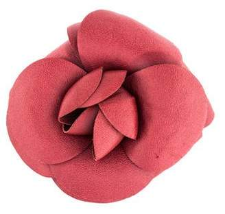 Chanel Leather Camellia Brooch