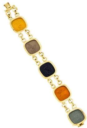 "Elizabeth Locke 19K Venetian Glass Intaglio ""Mythology"" Link Bracelet"