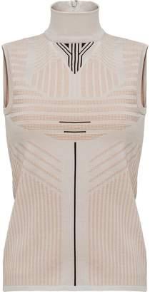 Prada striped pattern highneck blouse