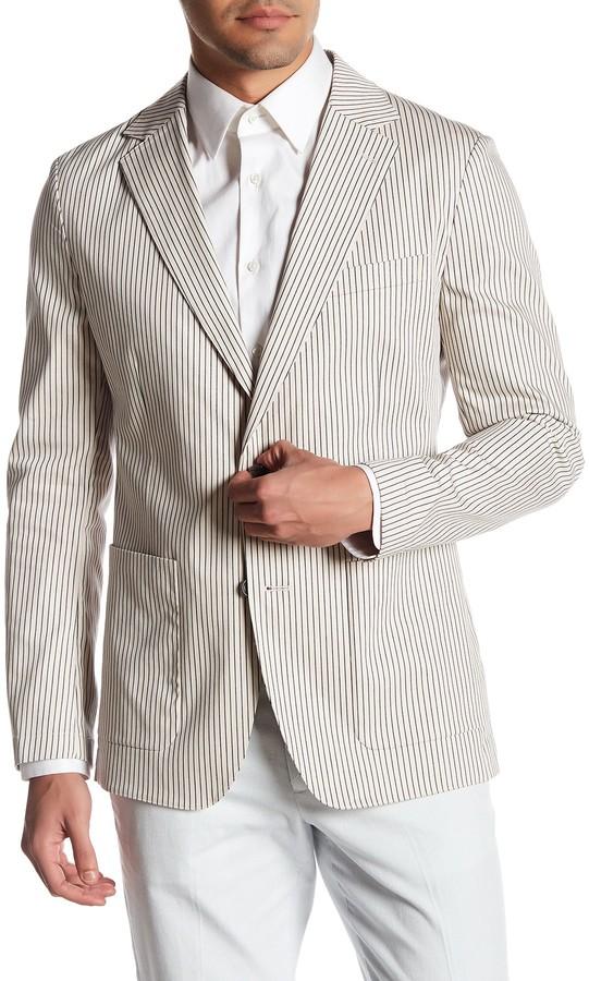 BonobosBonobos Jetsetter Grey Striped Two Button Notch Lapel Cotton Trim Fit Blazer