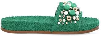Aquazzura 20mm Bonbon Terrycloth Slide Sandals