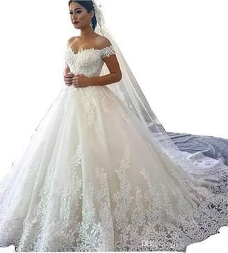 JINGDRESS Lace Bridal Dresses Off Shoulder Ball Gown for Wedding