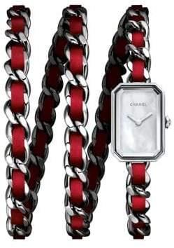 Chanel Première Rock Stainless Steel & Leather Triple-Wrap Bracelet Watch