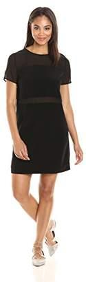 Paris Sunday Women's Short Sleeve Sheer Inset Detail T-Shirt Dress