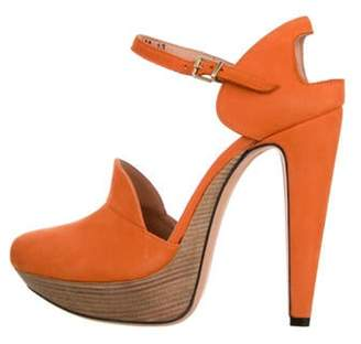 Roland Mouret Montaigne Suede Sandals Orange Montaigne Suede Sandals
