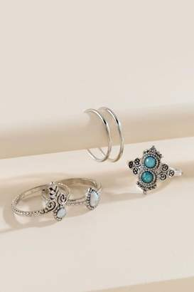 francesca's Chey Stacking Ring Set - Light Blue