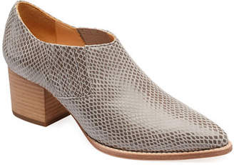 Bill Blass Tina Snake-Print Leather Ankle Booties