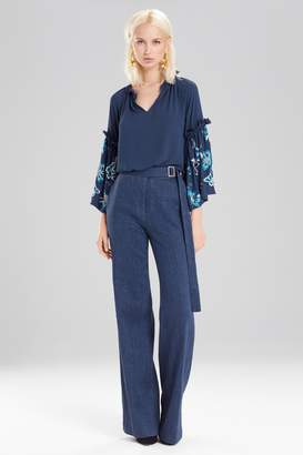 Natori Josie Solid Silky Soft Peasant Top With Embroidery