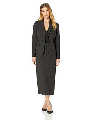 Le Suit Women's 2 Button Shawl Collar Pinstripe Skirt Suit
