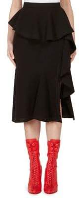 Givenchy Ruffle-Front Wool Skirt
